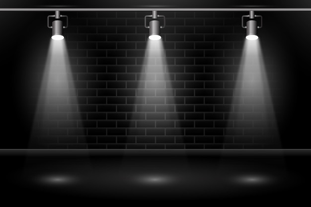 Brick wall with spot lights wallpaper Premium Vector
