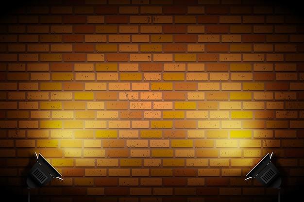 Кирпичная стена с точечными светильниками обои Бесплатные векторы