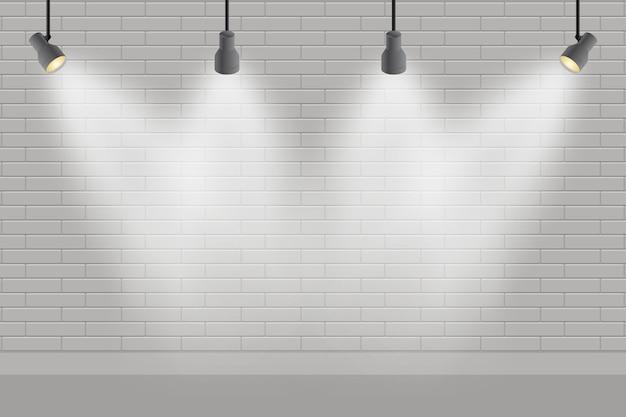 Brick wall with spot lights wallpaper Free Vector