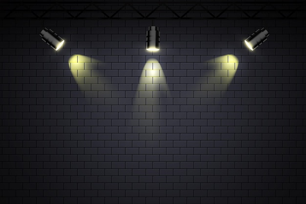 Brick wall with spot lights wallpaper Free Vector