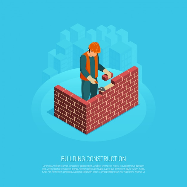 Изометрические строитель архитектор с редактируемым текстом человеческий характер работника и изображение brickwall под строительство векторная иллюстрация Бесплатные векторы