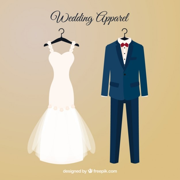 Brid dress and wedding suit with hangers Free Vector