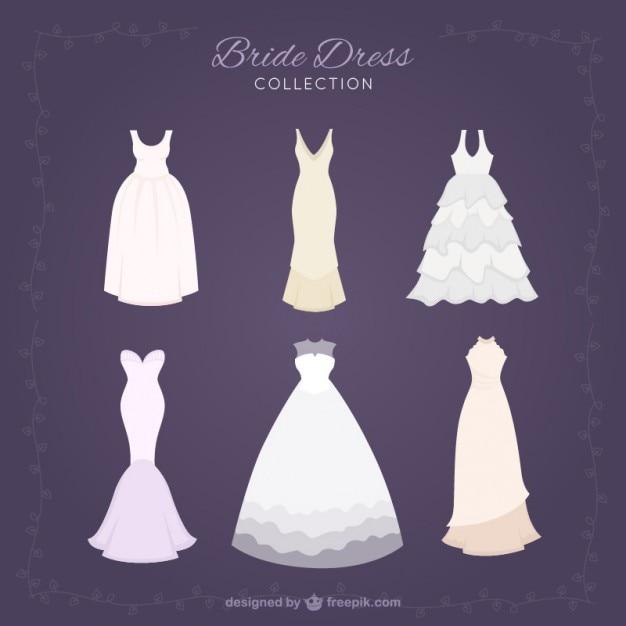 スタイリッシュなbridドレスのコレクション 無料ベクター
