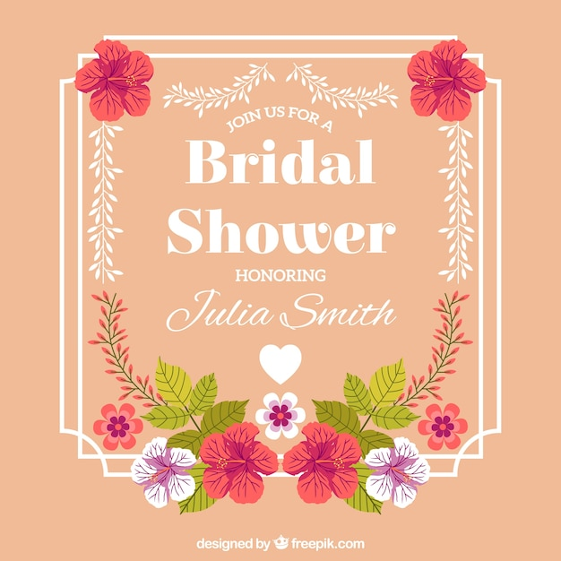 bridal shower frame with beautiful flowers