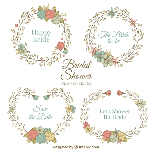 bridal shower frames with flowers in retro style stock images page everypixel