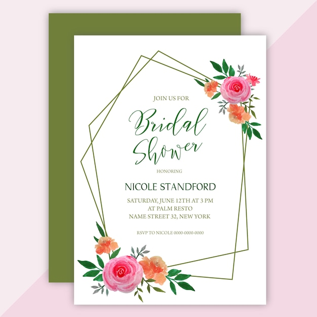 Bridal Shower Invitation Card In Floral Watercolor Wreath