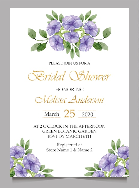 Bridal shower invitation card and wedding Premium Vector