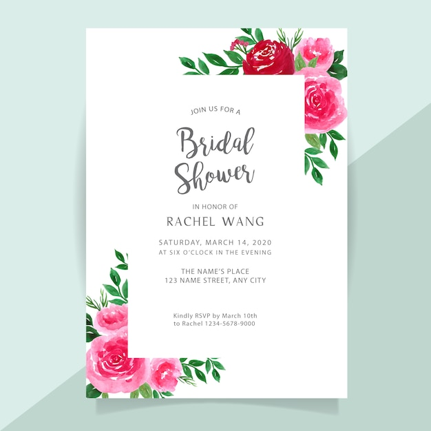 Bridal shower invitation card with flower watercolor border Premium Vector