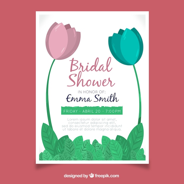Bridal shower invitation template with blue and pink flowers – Free Invitation Backgrounds
