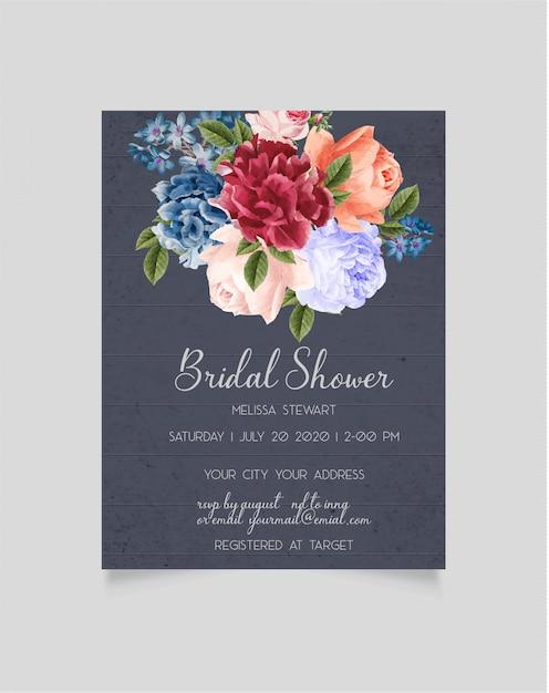 Bridal shower invitation template Premium Vector