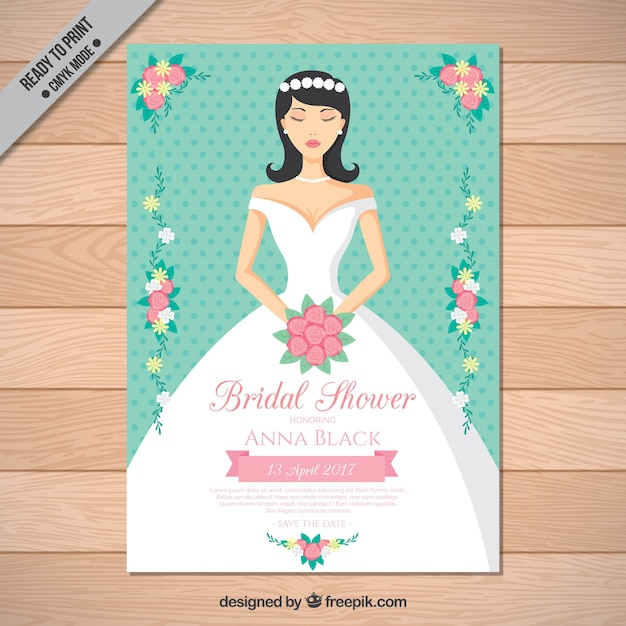 bridal shower invitation with beautiful bride free vector
