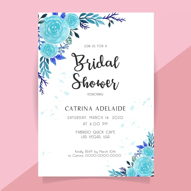 Bridal shower invitation with blue rose flower watercolor Premium Vector