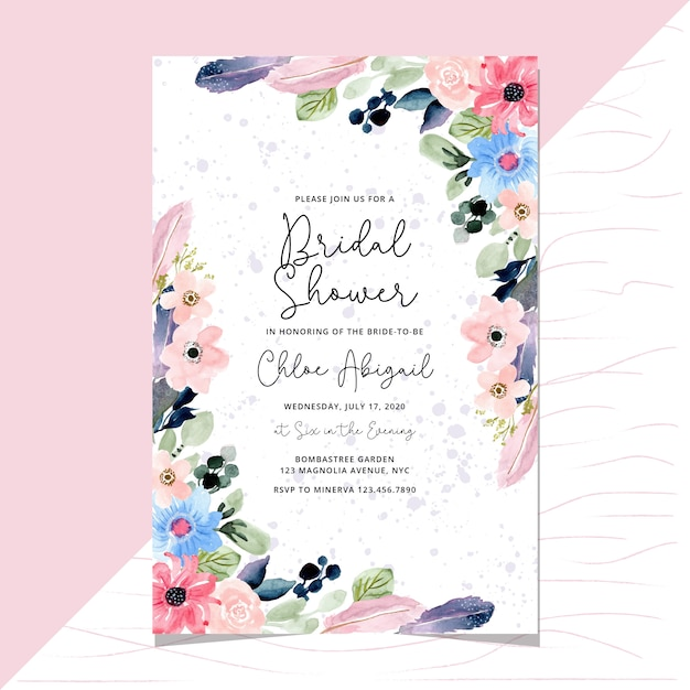 Bridal shower invitation with floral and feather watercolor border Premium Vector