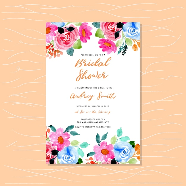 Bridal shower invitation with floral watercolor frame Premium Vector