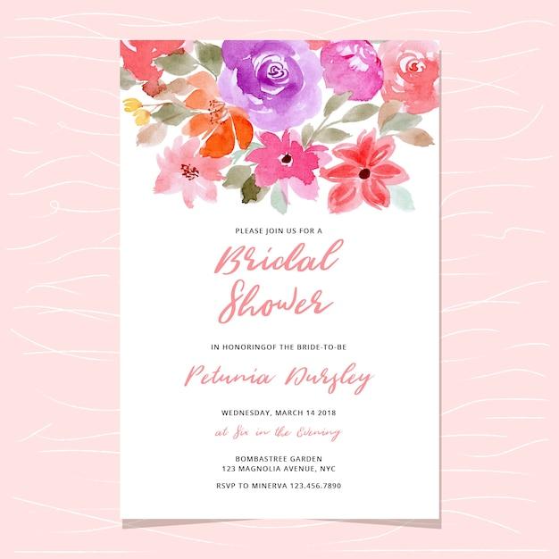 Bridal shower invitation with floral watercolor header Premium Vector