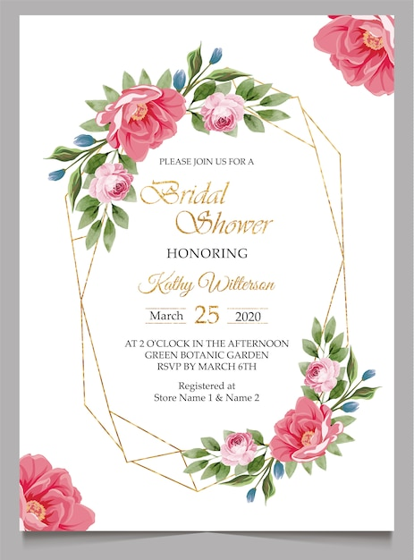 Bridal shower invitation with flowers Premium Vector