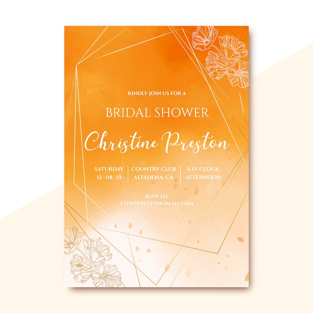 Bridal shower invitation with golden watercolor texture Free Vector