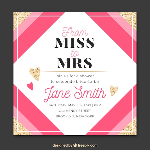 Bridal shower invitation with pink shapes and golden hearts vector bridal shower invitation with pink shapes and golden hearts free vector stopboris Image collections