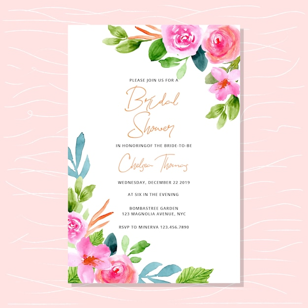 Bridal shower invitation with pink watercolor floral edges Premium Vector