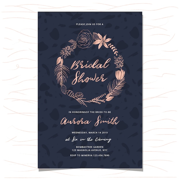 Bridal shower invitation with rose gold hand drawn floral wreath Premium Vector