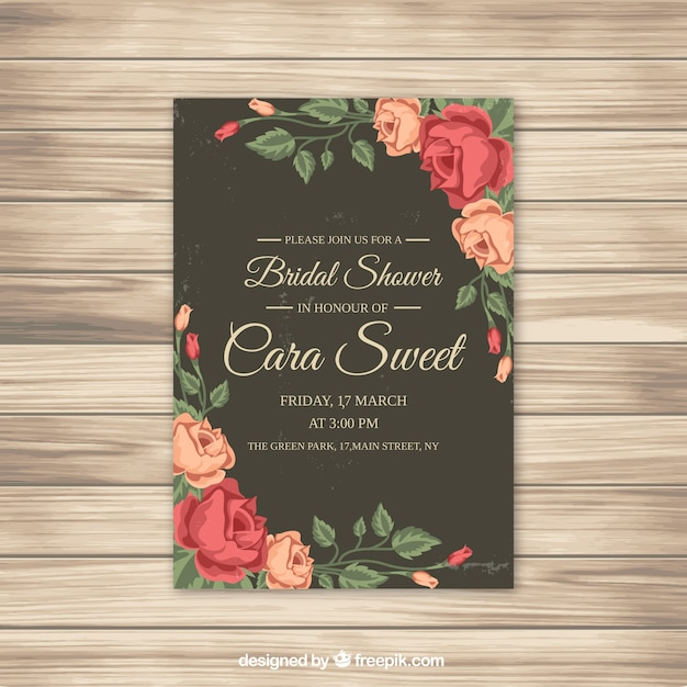 bridal shower invitation with roses free vector