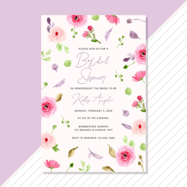 Bridal shower invitation with watercolor flower background Premium Vector