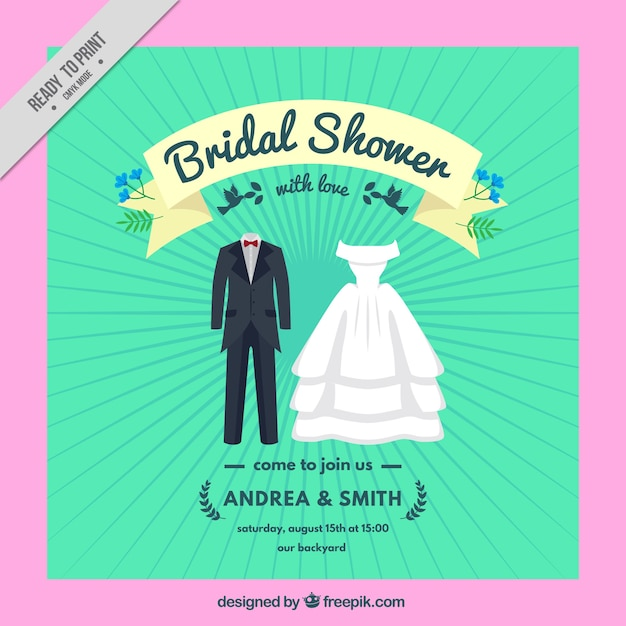bridal shower invitation with wedding clothes free vector