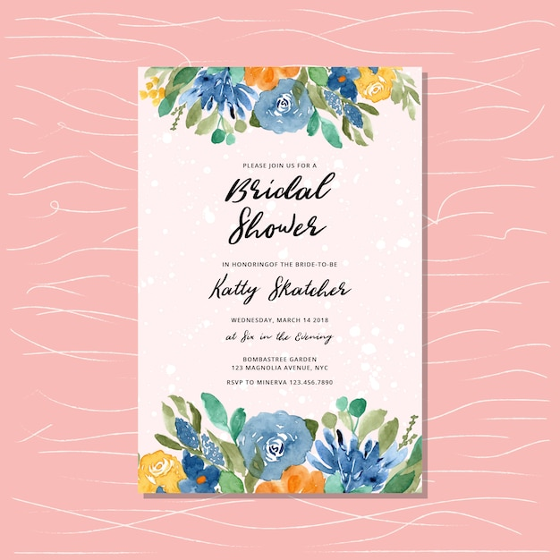 Bridal shower invitation with yellow blue floral watercolor