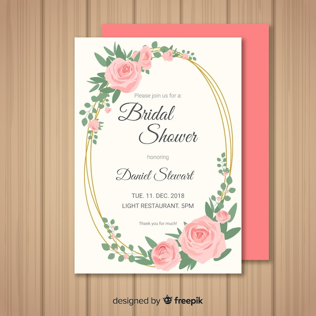 Bridal shower invitation Free Vector