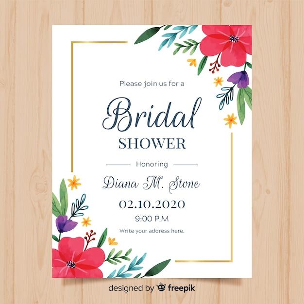 Bridal shower invitation Free Vector