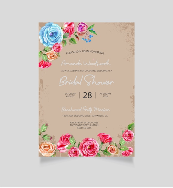 Bridal shower invitation Premium Vector