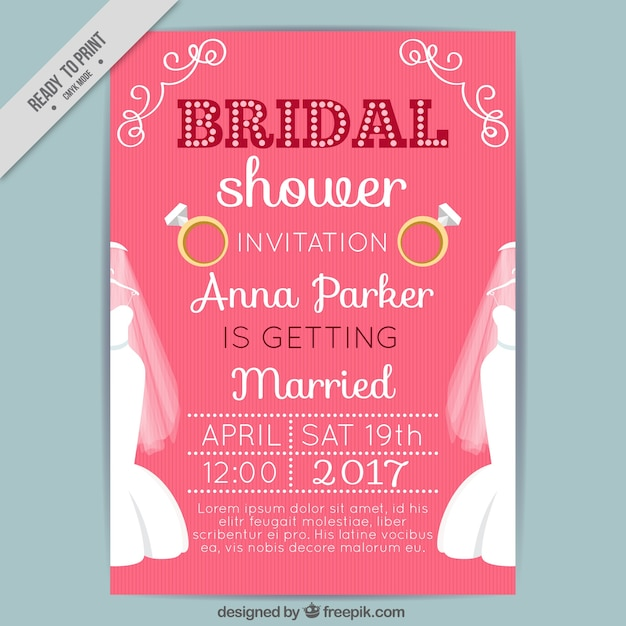 Bridal shower party invitation Free Vector