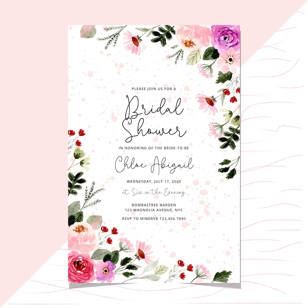 Bridal shower with pretty floral frame watercolor Premium Vector