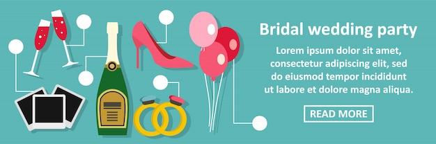 Bridal wedding party banner horizontal concept Premium Vector