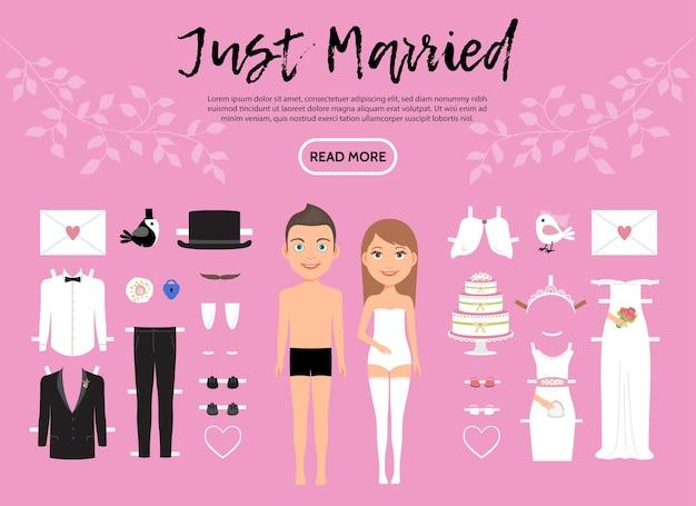 結婚式の服の靴の手紙ケーキ鳩と新郎新婦のキャラクターコンストラクタテンプレート 無料ベクター