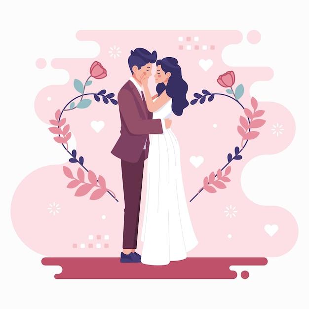신부와 신랑 결혼 무료 벡터