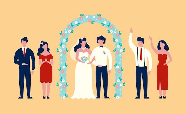 結婚式のアーチの下に立っている新郎新婦 Premiumベクター
