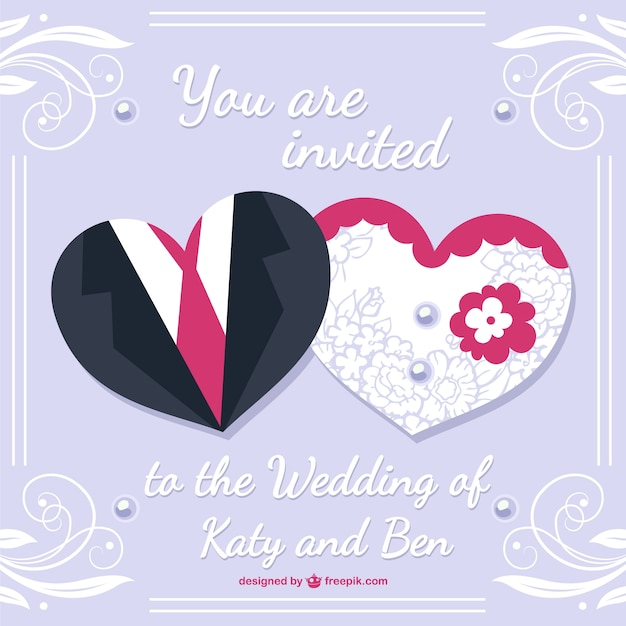 Bride and groom wedding card desing Vector Free Download
