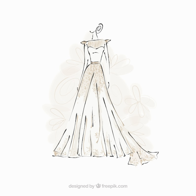 Bride dress sketch Free Vector