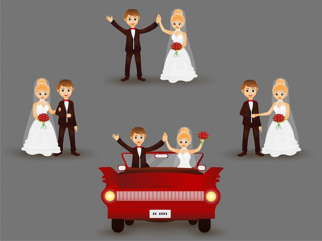 Bride and groom character in different poses. Premium Vector