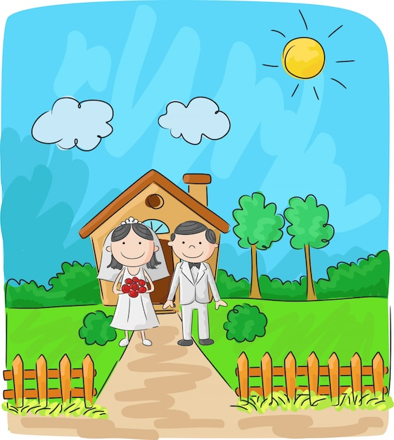 Bride and groom in front of small house Premium Vector