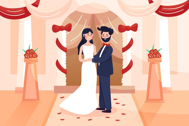 Bride and groom getting married illustration Free Vector