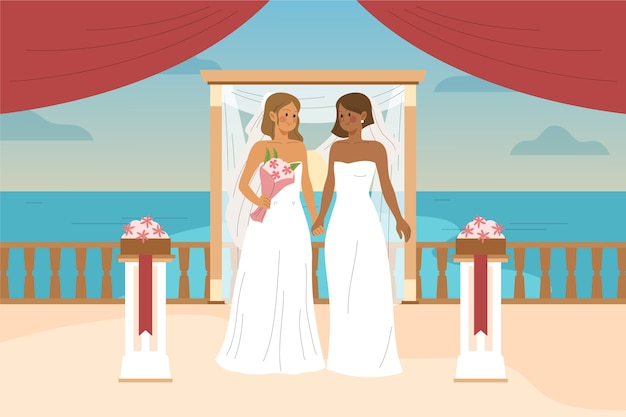 Bride and groom getting married Free Vector