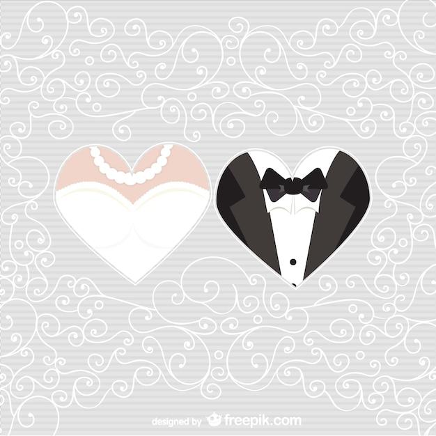 Bride and groom hearts Free Vector
