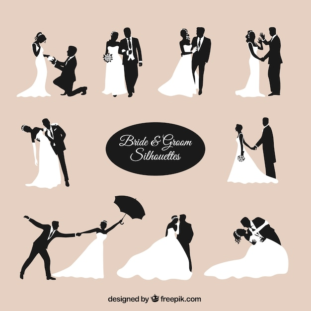 Bride and groom silhouettes Premium Vector