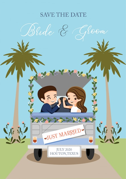But bride and groom traveling with the car for wedding invitation card Premium Vector