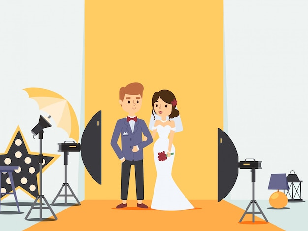 Bride and groom at wedding photoshoot in photo studio,   illustration. newlywed couple cartoon character, professional photography equipment. husband and wife Premium Vector