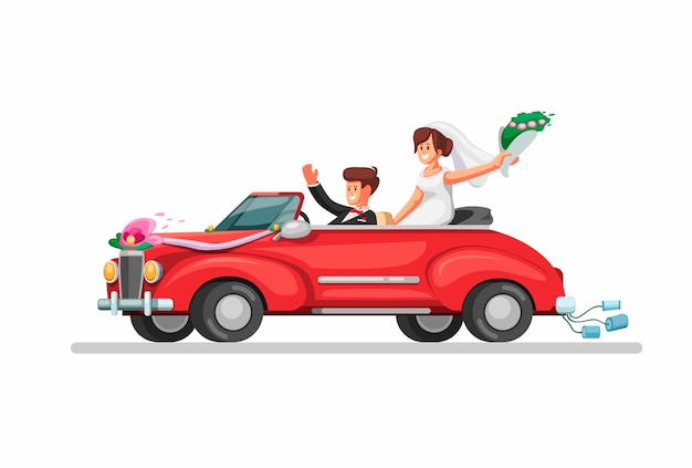 Bride on retro convertible car just married couple. wedding car symbol in cartoon illustration  on white background Premium Vector