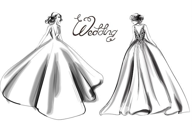 Bride silhouette line art Premium Vector