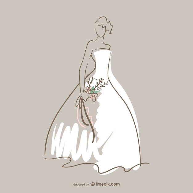 Bride silhouette with white dress Free Vector